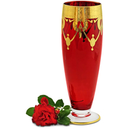 Ваза для цветов Migliore DeLuxe Dinastia Rosso, хрусталь красный, декор золото 24К, 42см - арт.25634, фото 1