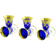 Набор рюмок Migliore DeLuxe Dinastia Blu, хрусталь синий, декор золото 24К - 6шт - арт.25640, фото 1