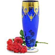 Ваза для цветов Migliore DeLuxe Dinastia Blu, хрусталь синий, декор золото 24К, 42см - арт.25642, фото 1