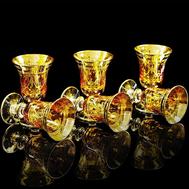 Набор рюмок Migliore DeLuxe Dinastia Ambra, хрусталь янтарный, декор золото 24К - 6шт - арт.25649, фото 1