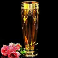 Ваза для цветов Migliore DeLuxe Dinastia Ambra, хрусталь янтарный, декор золото 24К, 42см - арт.25651, фото 1