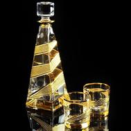 Набор для виски Migliore DeLuxe Idalgo: графин + 2 стакана, хрусталь янтарный - арт.25676, фото 1