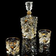 Набор для виски Migliore DeLuxe Monte Cristo: графин + 2 стакана, хрусталь, декор золото 24К - арт.25680, фото 1