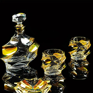 Набор для виски Migliore DeLuxe Pocker: графин + 2 стакана, хрусталь, декор золото 24К - арт.25681, фото 1