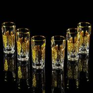 Набор стопок Migliore DeLuxe Gloria, хрусталь, декор золото 24К - 6шт - арт.25697, фото 1