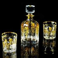 Набор для виски Migliore DeLuxe Gloria: графин + 2 стакана, хрусталь, декор золото 24К - арт.25704, фото 1