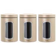 Brabantia Набор контейнеров для сыпучих продуктов с окном (1,4 л), 3 шт., Шампань  - арт.304842, фото 1