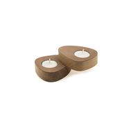 LINDDNA 982599 NUPO nature подсвечник для чайных свечей, фигурный 8х10х2,5см, набор 2шт, фото 1