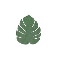 LINDDNA 990220 HIPPO forest green Подстаканник из натуральной кожи лист монстеры 14х12 см, толщина 1,6мм, фото 1