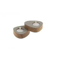 LINDDNA 981765 NUPO light grey подсвечник для чайных свечей, фигурный 8х10х2,5см, набор 2шт, фото 1