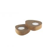 LINDDNA 981767 NUPO brown подсвечник для чайных свечей, фигурный 8х10х2,5см, набор 2шт, фото 1