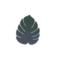 LINDDNA 989965 NUPO dark green Подстаканник из натуральной кожи лист монстеры 14х12 см, толщина 1,6мм, фото 1