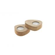 LINDDNA 981766 NUPO sand подсвечник для чайных свечей, фигурный 8х10х2,5см, набор 2шт, фото 1