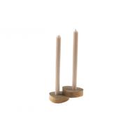 LINDDNA 981759 NUPO brown подсвечник для высоких свечей, фигурный 8х10х2,5см, набор 2шт, фото 1
