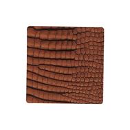 LINDDNA 9897 CROCO cognac Подстаканник из натуральной кожи квадратный 10x10 см, толщина 2мм, фото 1