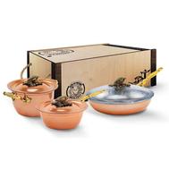 """Набор медной посуды """"Кукуруза"""" из 3-х предметов: кастрюля 2л 20см, сотейник 1,5л 20см, сковорода  22см,  - арт.КМ4540301, фото 1"""