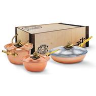"""Набор медной посуды """"Чеснок"""" из 3-х предметов: кастрюля 2л 20см, сковорода 22см, сотейник 1,5л 20см,  - арт.КМ4530301, фото 1"""