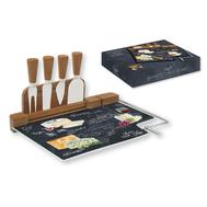 Easy Life (R2S) Набор для сыра: разделочная доска (стекло) + 4 ножа Мир сыров, стекло, дерево - арт.R2S810_WOCH-AL, фото 1