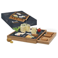 Easy Life (R2S) Набор для сыра: разделочная доска + 4 ножа Мир сыров 25х25х3,5см, стекло, дерево - арт.R2S891_WOCH-AL, фото 1
