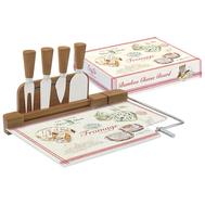 Easy Life (R2S) Набор для сыра: разделочная доска (стекло) + 4 ножа Fromage 32x22x3,5см - арт.EL-0810_FRMA, фото 1