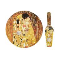 Carmani Набор для торта: блюдо с лопаткой Поцелуй  (Г. Климт)  28см, стекло - арт.CAR198-8071, фото 1