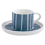 Easy Life (R2S) Чашка с блюдцем (синий с белыми полосками) Бриз 0.25л, фарфор - арт.EL-R2404_BRZE, фото 1
