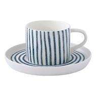 Easy Life (R2S) Чашка с блюдцем (белый с синими полосками) Бриз 0.25л, фарфор - арт.EL-R2404_BRZ1, фото 1