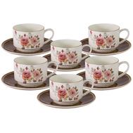 Anna Lafarg Emily Набор 12 предметов Английская роза : 6 чашек + 6 блюдец 0.2л, костяной фарфор - арт.AL-M2188_12-E9, фото 1