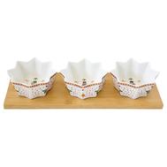 Easy Life (R2S) Набор из 3 салатников на подставке Щелкунчик. 34х12см, фарфор/бамбук - арт.EL-R2183_NUTC, фото 1