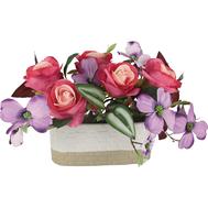 Dream Garden Декоративные цветы Розы малиновые с сиреневыми цветами в керамической вазе - арт.DG-J7526, фото 1