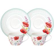 Easy Life (R2S) Набор: 2 чашки + 2 блюдца Красные маки 0.24л, фарфор - арт.EL-R0922_COQU, фото 1