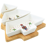 Easy Life (R2S) Набор для закуски Елочка: 3 блюда на подставке Щелкунчик 25.5х21см, фарфор/бамбук - арт.EL-R2180_NUTC, фото 1