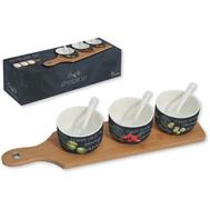 Easy Life (R2S) Набор для закуски: 3 чаши (8см) с ложками, поднос 37х9см, фарфор, бамбук - арт.R2S894_WOPA-AL, фото 1