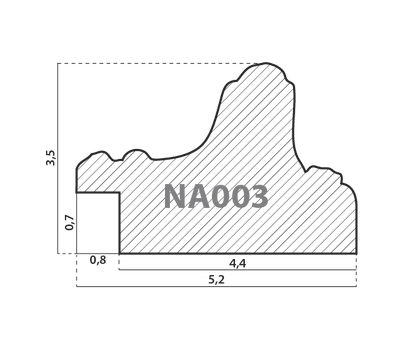 Деревянный багет NA003.1.100, ш: 5.2см в: 3.5см, фото 2