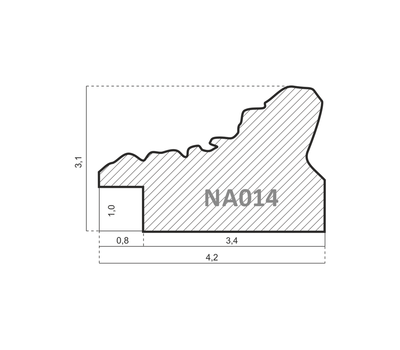 Деревянный багет NA014.1.226, ш: 4.2см в: 3.1см, фото 2