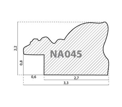 Деревянный багет NA045.1.160, ш: 3.3см в: 2.2см, фото 2