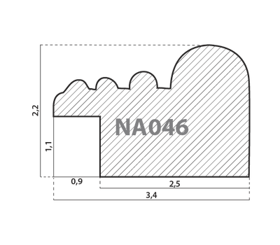 Деревянный багет NA046.0.165, ш: 3.4см в: 2.2см, фото 2