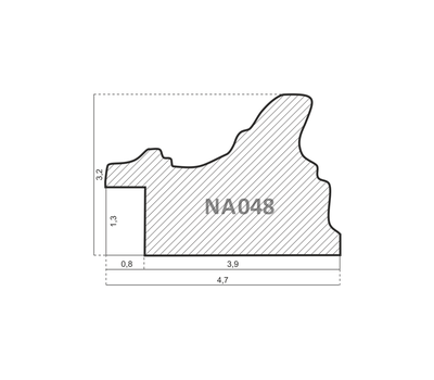 Деревянный багет NA048.0.358, ш: 4.7см в: 3.2см, фото 2