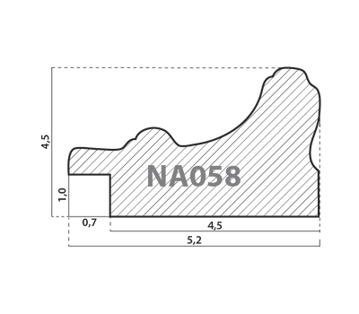 Деревянный багет NA058.1.066, ш: 5.2см в: 3.3см, фото 2