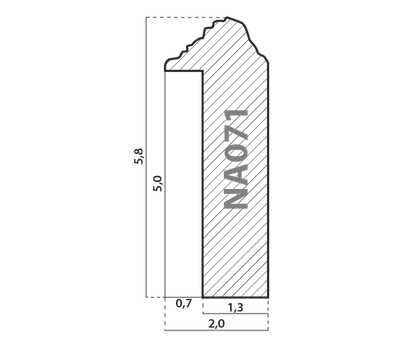Деревянный багет NA071.1.161, ш: 2см в: 6.2см, фото 2