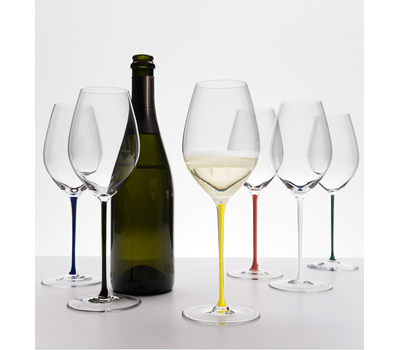 Фужер для шампанского Champagne Wine Glass Riedel Fatto a Mano, 445мл, синяя ножка, фото 3